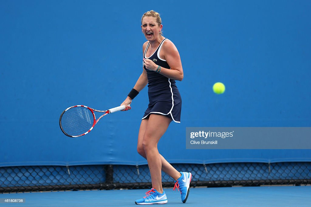 <a gi-track='captionPersonalityLinkClicked' href=/galleries/search?phrase=Lesia+Tsurenko&family=editorial&specificpeople=7654433 ng-click='$event.stopPropagation()'>Lesia Tsurenko</a> of the Ukraine reacts in her first round match against Madison Keys of the United States during day two of the 2015 Australian Open at Melbourne Park on January 20, 2015 in Melbourne, Australia.