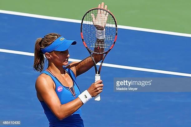 Lesia Tsurenko of Ukraine celebrates her win over Karolina Pliskova of Czech Republic on Day 4 of the Connecticut Open at Connecticut Tennis Center...