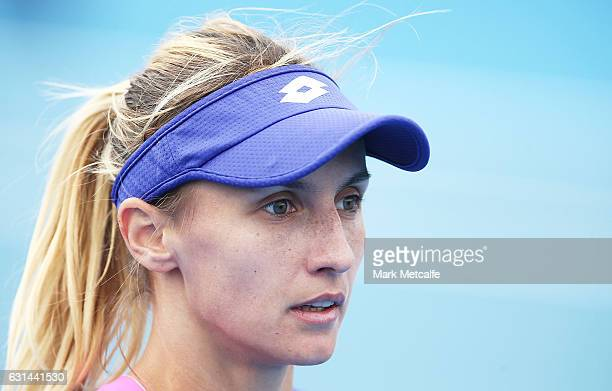 Lesia Tsurenko of Ukraine clooks on during her second round match against Johanna Larsson of Sweden during day two of the 2017 Hobart International...