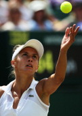 Lesia Tsurenko of Ukraine during the Ladies' Singles second round match against Simona Halep of Romania on day five of the Wimbledon Lawn Tennis...