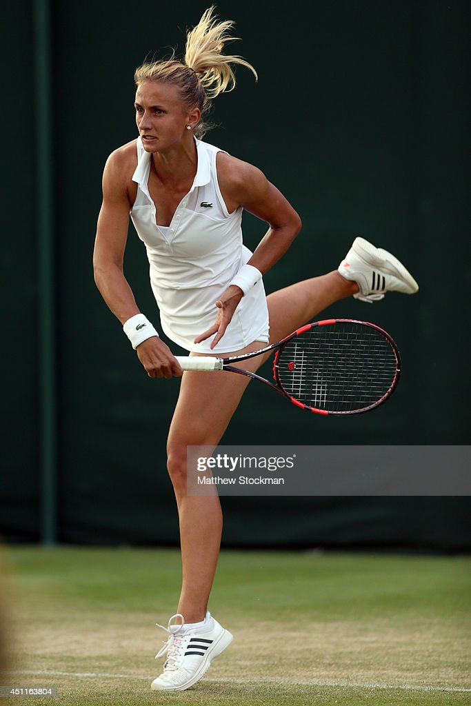 Lesia Tsurenko of Ukraine in action during her Ladies' Singles first round match against Dinah Pfizenmaier of Germany on day two of the Wimbledon...