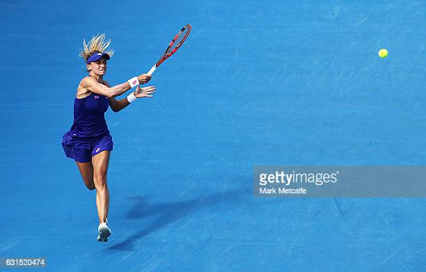 Lesia Tsurenko of Ukraine plays a forehand in her quarter final match against Shelby Rogers of the USA during day three of the 2017 Hobart...