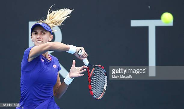 Lesia Tsurenko of Ukraine plays a forehand in her second round match against Johanna Larsson of Sweden during day two of the 2017 Hobart...