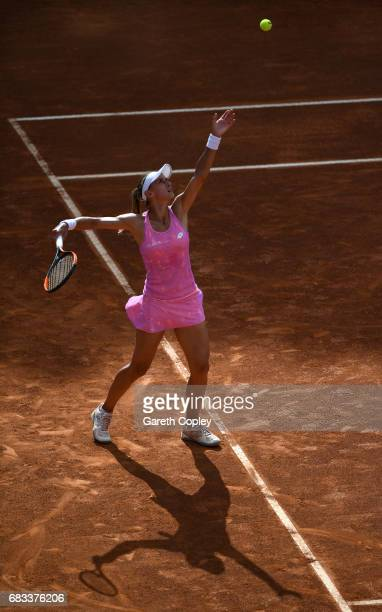 Lesia Tsurenko of Ukraine plays a shot during her first round match against Deborah Chiesa of Italy in The Internazionali BNL d'Italia 2017 at Foro...
