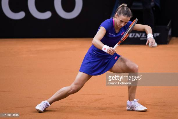 Lesia Tsurenko of Ukraine reacts after missing a point against Julia Goerges of Germany during the FedCup World Group PlayOff match between Germany...