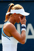 Lesia Tsurenko of Ukraine reacts against Varvara Lepchenko of the United States during their Women's Singles Second Round match on Day Four of the...