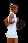 Lesia Tsurenko of Ukraine reacts during her Ladies' Singles first round match against Dinah Pfizenmaier of Germany on day two of the Wimbledon Lawn...