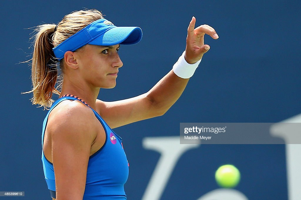 Lesia Tsurenko of Ukraine reacts during her match against Karolina Pliskova Czech Republic on Day 4 of the Connecticut Open at Connecticut Tennis...