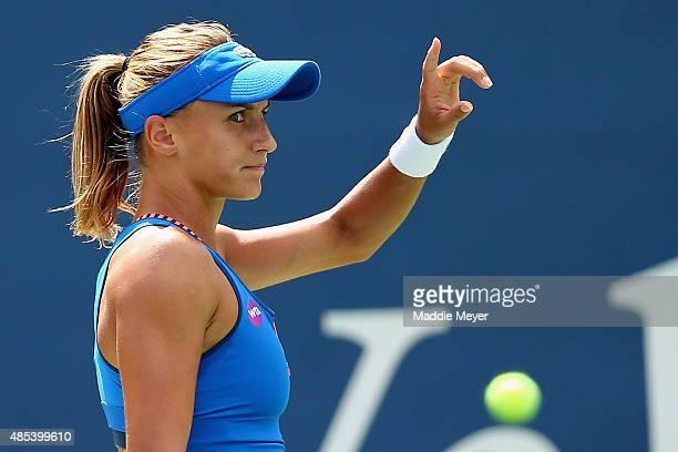 Lesia Tsurenko of Ukraine reacts during her match against Karolina Pliskova Czech Republic on Day 4 of the Connecticut Open at Connecticut Tennis...