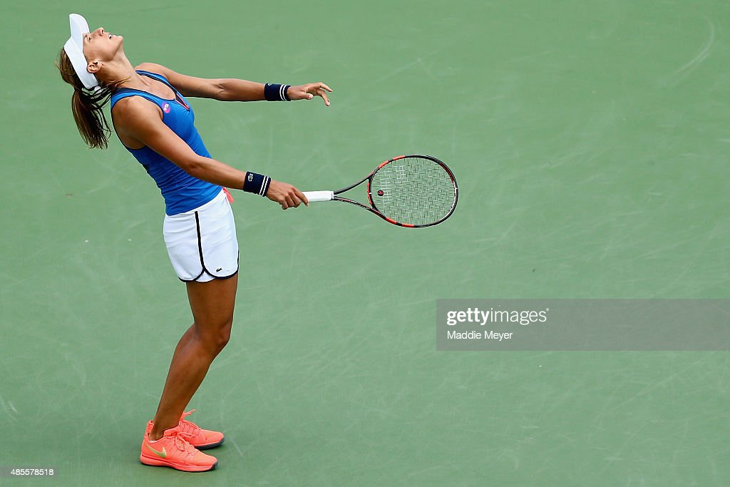 <a gi-track='captionPersonalityLinkClicked' href=/galleries/search?phrase=Lesia+Tsurenko&family=editorial&specificpeople=7654433 ng-click='$event.stopPropagation()'>Lesia Tsurenko</a> of Ukraine reacts during her match against Lucie Safarova of Czech Republic during the semifinal round of the Connecticut Open at Connecticut Tennis Center at Yale on August 28, 2015 in New Haven, Connecticut.