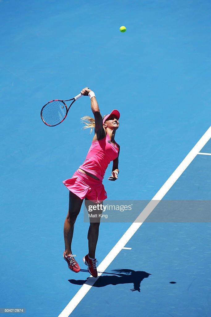 <a gi-track='captionPersonalityLinkClicked' href=/galleries/search?phrase=Lesia+Tsurenko&family=editorial&specificpeople=7654433 ng-click='$event.stopPropagation()'>Lesia Tsurenko</a> of Ukraine serves in her match against Tsvetana Pironkova of Bulgaria during day one of the 2016 Sydney International at Sydney Olympic Park Tennis Centre on January 10, 2016 in Sydney, Australia.