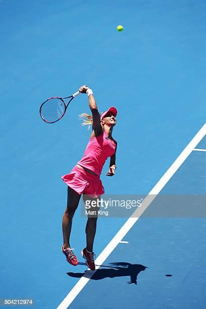 Lesia Tsurenko of Ukraine serves in her match against Tsvetana Pironkova of Bulgaria during day one of the 2016 Sydney International at Sydney...