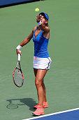 Lesia Tsurenko of Ukraine serves to Karolina Pliskova of Czech Republic on Day 4 of the Connecticut Open at Connecticut Tennis Center at Yale on...