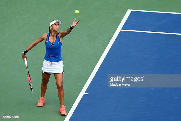 Lesia Tsurenko of Ukraine serves to Lucie Safarova of Czech Republic during the semifinal round of the Connecticut Open at Connecticut Tennis Center...