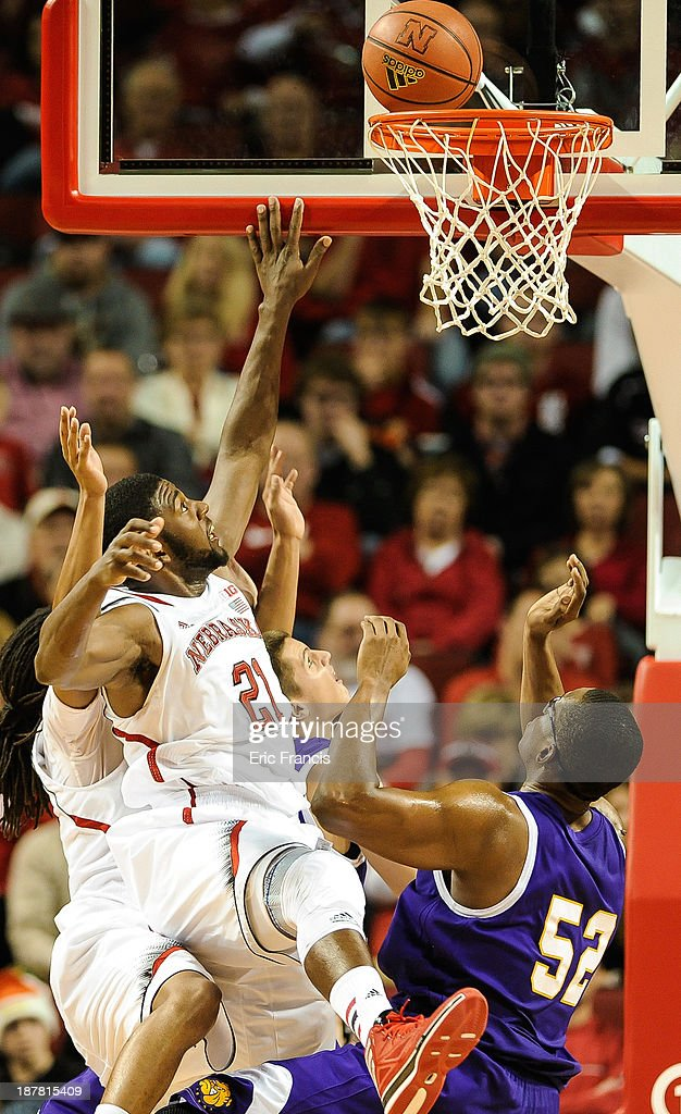Leslee Smith #21 of the Nebraska Cornhuskers shoots over Michael Ochereobia #52 of the Western Illinois Leathernecks during their game at Pinnacle Bank Arena on November 12, 2013 in Lincoln, Nebraska.