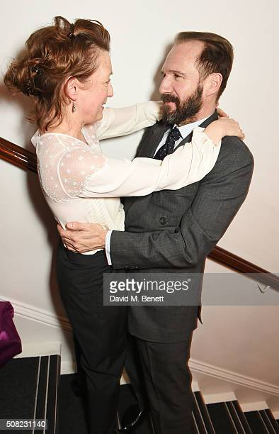 Lesley Manville and Ralph Fiennes attend the press night after party for 'The Master Builder' at The Old Vic Theatre on February 3 2016 in London...
