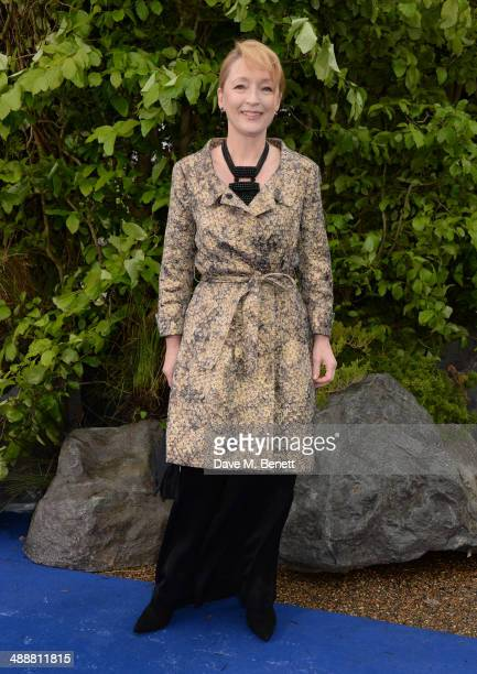 Lesley Manville arrives at a private reception as costumes and props from Disney's 'Maleficent' are exhibited in support of Great Ormond Street...