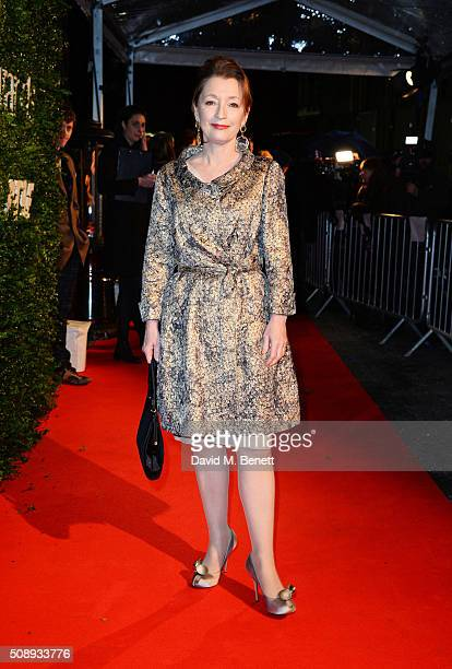 Lesley Manville arrives at the London Evening Standard British Film Awards at Television Centre on February 7 2016 in London England
