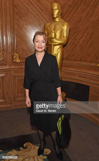 Lesley Manville attends the Academy of Motion Picture Arts and Sciences Women In Film lunch at Claridge's Hotel on October 6 2017 in London England