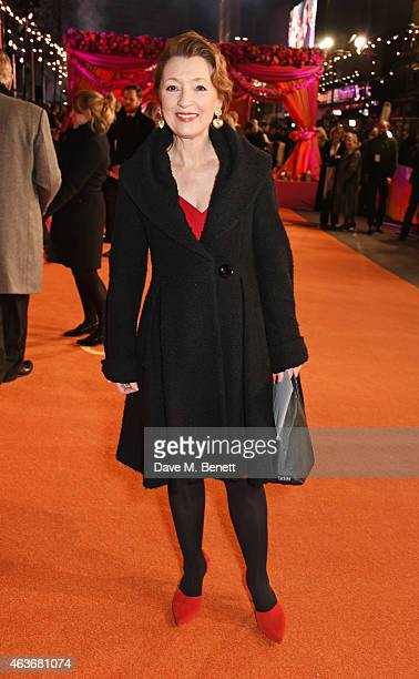 Lesley Manville attends The Royal Film Performance and World Premiere of 'The Second Best Exotic Marigold Hotel' at Odeon Leicester Square on...