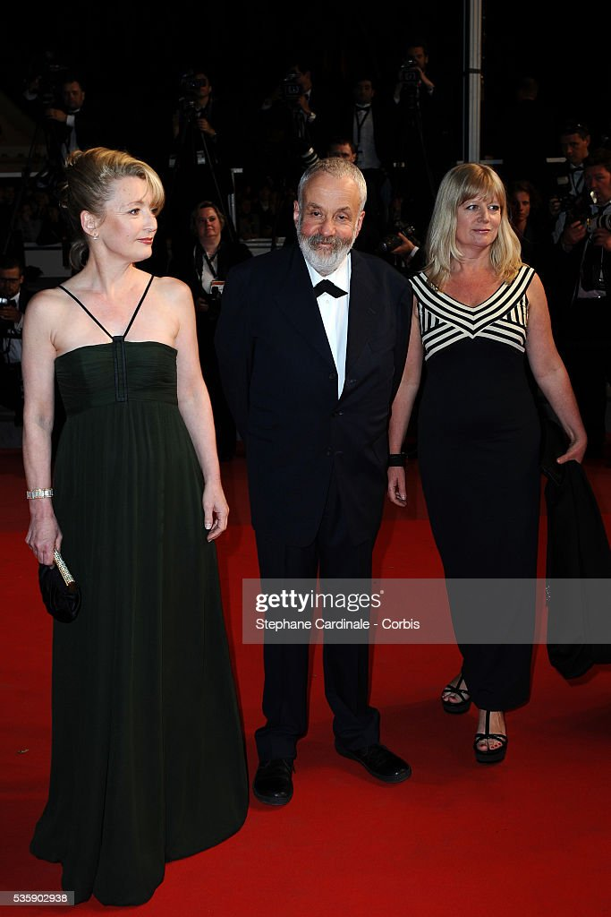 Lesley Manville, Mike Leigh and Georgina Lowe at the premiere of 'Another year' during the 63rd Cannes International Film Festival.