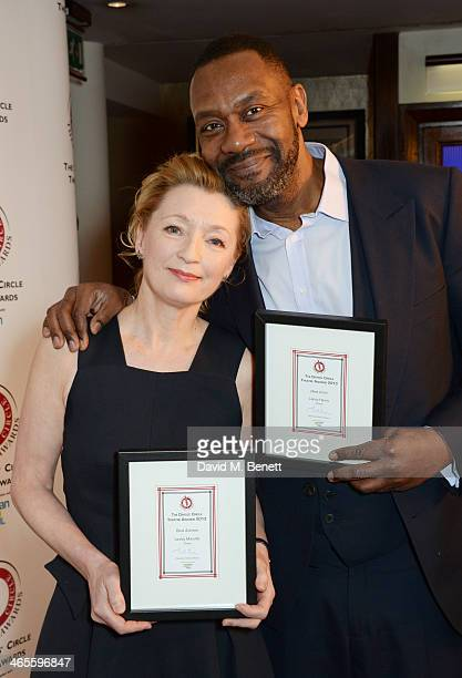 Lesley Manville winner of Best Actress for her performance in 'Ghosts' and Lenny Henry winner of Best Actor for his performance in 'Fences' attend...