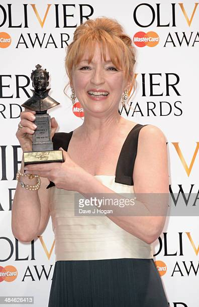 Lesley Manville with her Best Actress award for Ghosts during the Laurence Olivier Awards at the Royal Opera House on April 13 2014 in London England