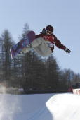 Lesley McKenna of Great Britain competes in the Snowboard Half Pipe Final on Day 3 of the 2006 Turin Winter Olympic Games on February 13 2006 in...