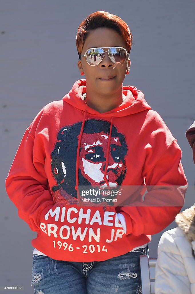 Lesley McSpadden, mother of slain 18-year old Michael Brown Jr. attends a press conference outside the St. Louis County Court Building on April 23, 2015 in Clayton, Missouri. Family members have announced a civil lawsuit over the death of Michael Brown Jr. this past August in Ferguson, Missouri. (Photo by Michael B. Thomas/Getty Images) Local Caption: Lesley McSpadden