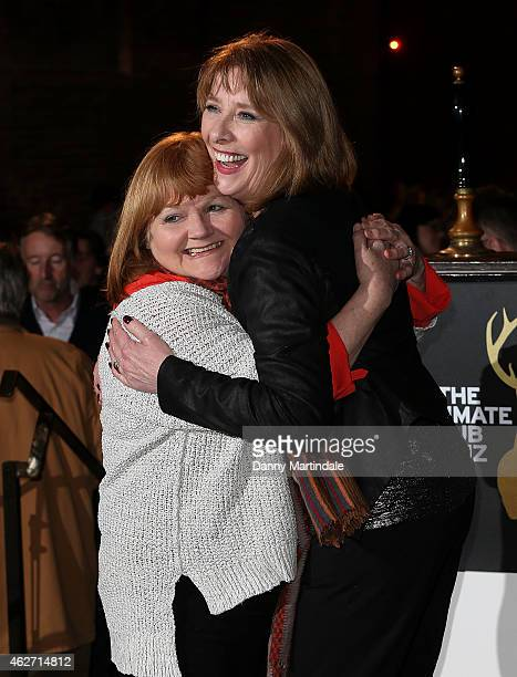 Lesley Nicol and Phiyllis Logan attends the Centrepoint Ultimate Pub Quiz at Village Underground on February 3 2015 in London England