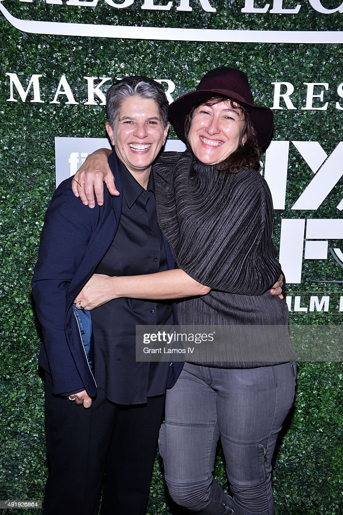 Lesli Klainberg (L) and Athina Rachel Tsangari attends the 53rd New York Film Festival - Filmmakers In Residence Dinner at Cafe Clover on October 8, 2015 in New York City.