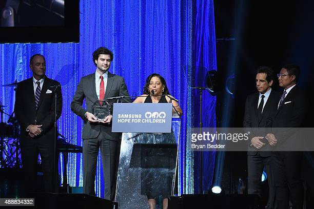 Leslie Archie speaks onstage with Ben Stiller and Gregory Lee during the the Samsung Hope For Children Gala 2015 at Hammerstein Ballroom on September...