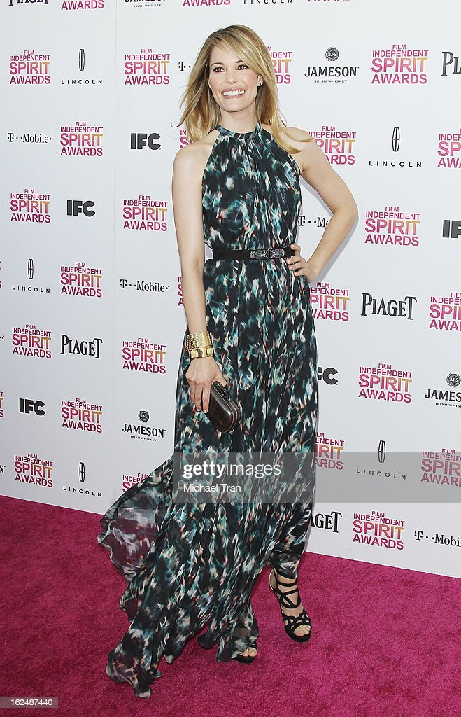 Leslie Bibb arrives at the 2013 Film Independent Spirit Awards held on February 23, 2013 in Santa Monica, California.