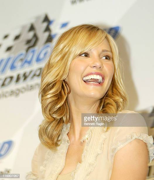 Leslie Bibb during Cast of 'Talladega Nights The Ballad of Ricky Bobby ' June 9 2006 at Chicagoland Speedway in Chicago Illinois United States