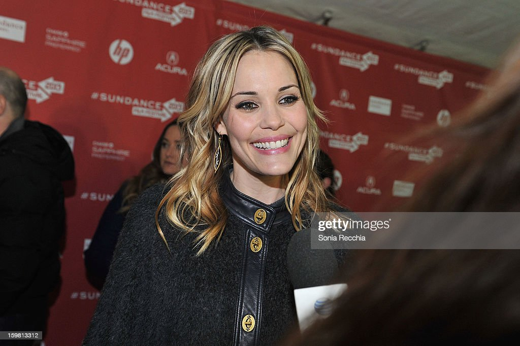 Leslie Bibb speaks on the red carpet at the 'Hell Baby' premiere at Library Center Theater during the 2013 Sundance Film Festival on January 20, 2013 in Park City, Utah.