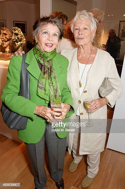 Leslie Caron and Dame Judi Dench attend a private view for Nicole Farhi's debut exhibition of sculptures 'From The Neck Up' at Bowman Sculpture on...