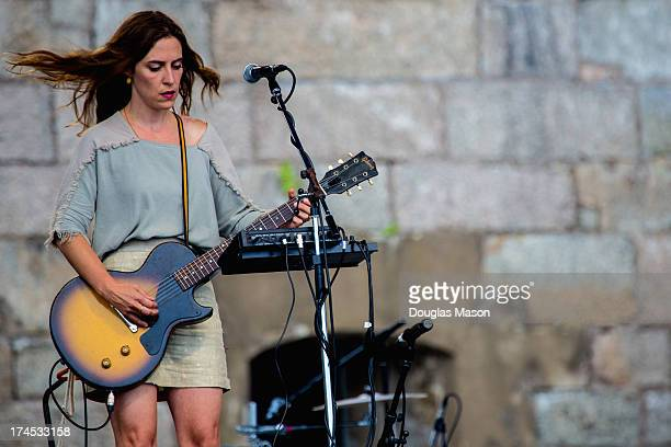 Leslie Feist performs during the 2013 Newport Folk Festival at Fort Adams State Park on July 26 2013 in Newport Rhode Island
