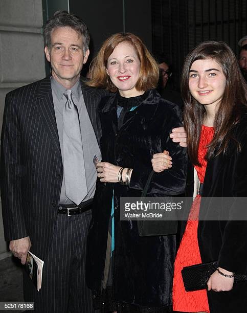 Leslie Gaines and her dad Boyd Gaines and mom Kathleen McNenny leaving the Stage Door after the Opening Night Performance of Death Of A Salesman at...