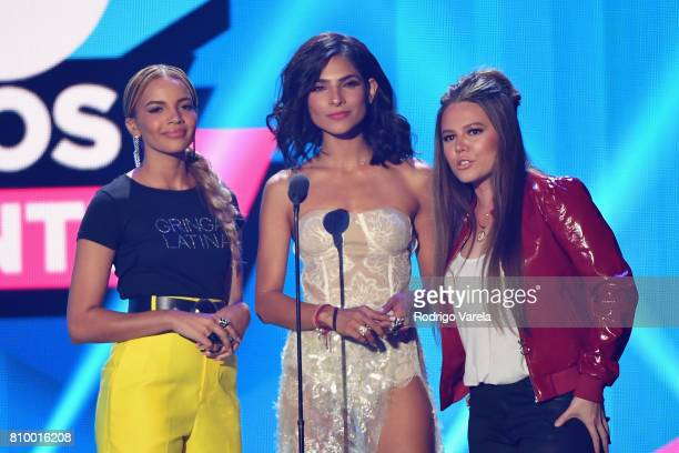 Leslie Grace Alejandra Espinoza and Joy from Jesse Joy speak on stage at the Univision's 'Premios Juventud' 2017 Celebrates The Hottest Musical...