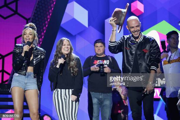 Leslie Grace Joy and Jesse rehearse on stage during Univision's 'Premios Juventud' 2017 Celebrates The Hottest Musical Artists And Young Latinos...