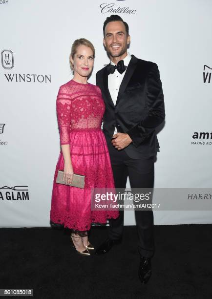 Leslie Grossman and Cheyenne Jackson at amfAR Los Angeles 2017 at Ron Burkle's Green Acres Estate on October 13 2017 in Beverly Hills Californi