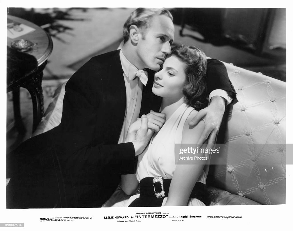 Leslie Howard holds Ingrid Bergman in a scene from the film 'Intermezzo: A Love Story', 1939.