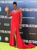 Leslie Jones attends the premiere of Sony Pictures' 'Ghostbusters' on July 9 2016 in Hollywood California