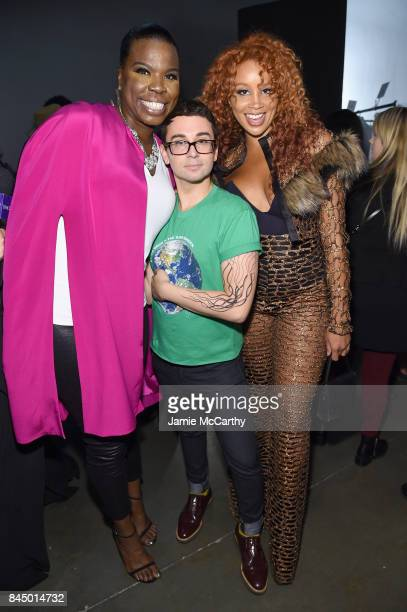 Leslie Jones Christian Siriano and Jillian Hervey pose backstage for the Christian Siriano fashion show during New York Fashion Week The Shows at...