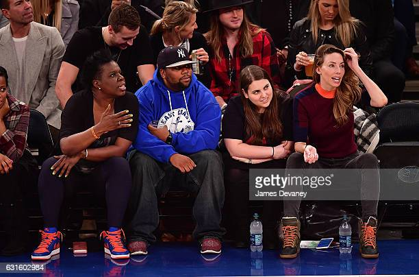 Leslie Jones guests and Whitney Cummings attend Chicago Bulls Vs New York Knicks game at Madison Square Garden on January 12 2017 in New York City