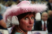 Leslie Jones of Virginia Beach VA wears a hat with tea bags attached during the Republican National Convention at the Tampa Bay Times Forum on August...