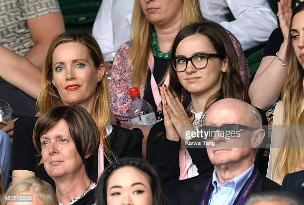 Leslie Mann and daughter Maude Apatow attend the Novak Djokovic v Radek Stepanek match on centre court during day three of the Wimbledon...