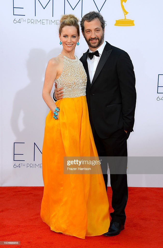 <a gi-track='captionPersonalityLinkClicked' href=/galleries/search?phrase=Leslie+Mann&family=editorial&specificpeople=595973 ng-click='$event.stopPropagation()'>Leslie Mann</a> and <a gi-track='captionPersonalityLinkClicked' href=/galleries/search?phrase=Judd+Apatow&family=editorial&specificpeople=854225 ng-click='$event.stopPropagation()'>Judd Apatow</a> arrive at the 64th Annual Primetime Emmy Awards at Nokia Theatre L.A. Live on September 23, 2012 in Los Angeles, California.