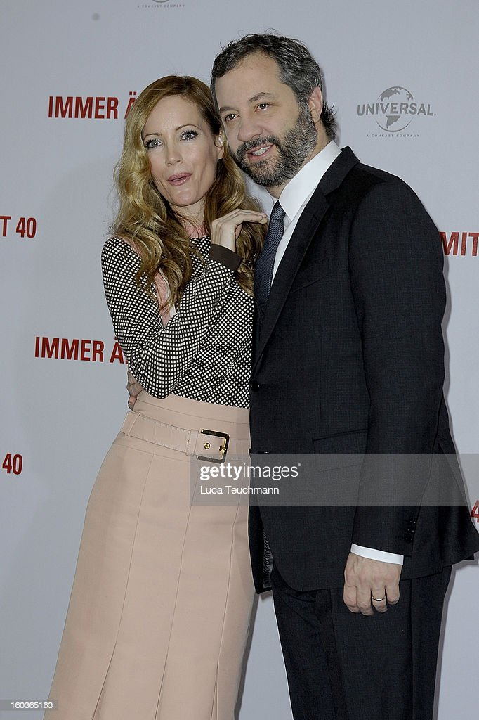Leslie Mann and Judd Apatow attends 'Immer Aerger mit 40' ( This Is 40 ) Germany photocall at the Hotel Adlon on January 30, 2013 in Berlin, Germany.