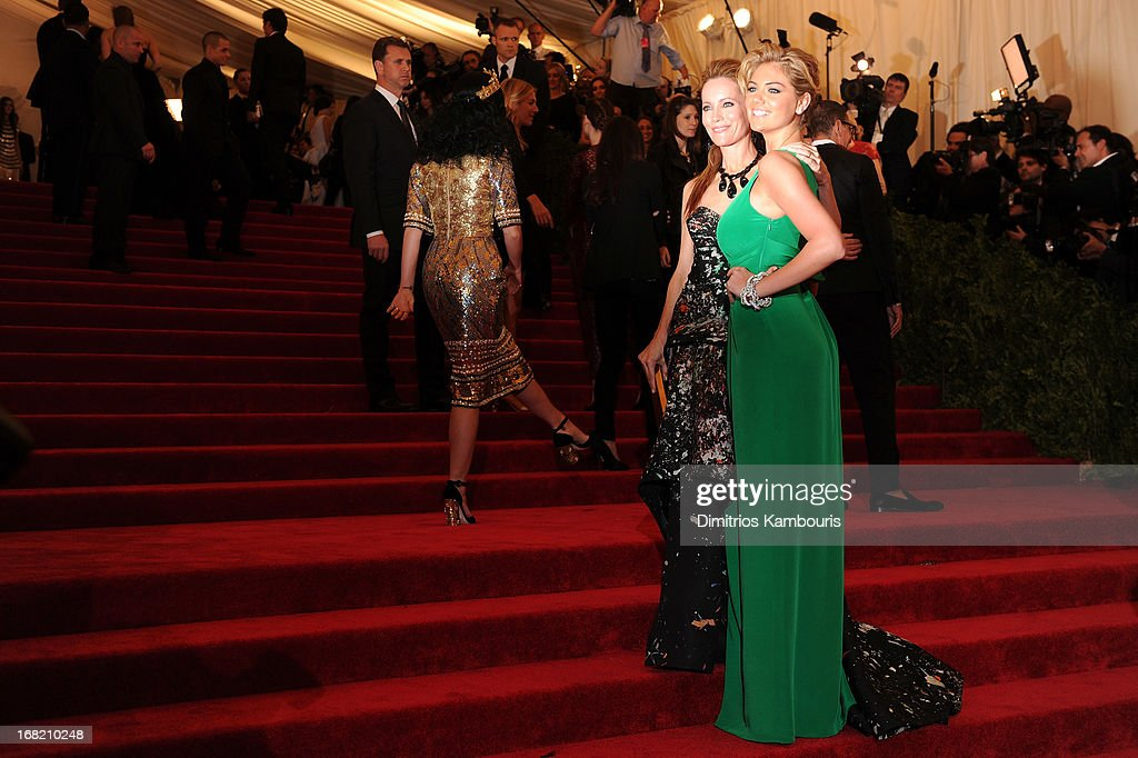 Leslie Mann and Kate Upton attend the Costume Institute Gala for the 'PUNK: Chaos to Couture' exhibition at the Metropolitan Museum of Art on May 6, 2013 in New York City.